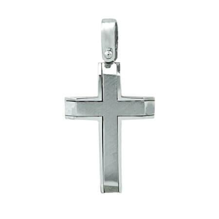 Διπλής Όψης Λευκόχρυσος Βαπτιστικός Σταυρός Κορίτσι 14Κ