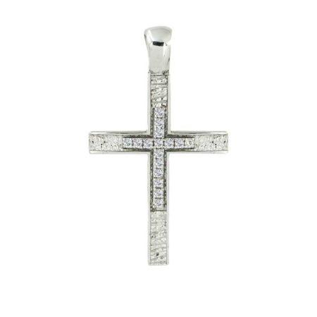 Διπλής Όψης Χρυσός Βαπτιστικός Σταυρός Λευκές Ζιργκόν Κ14