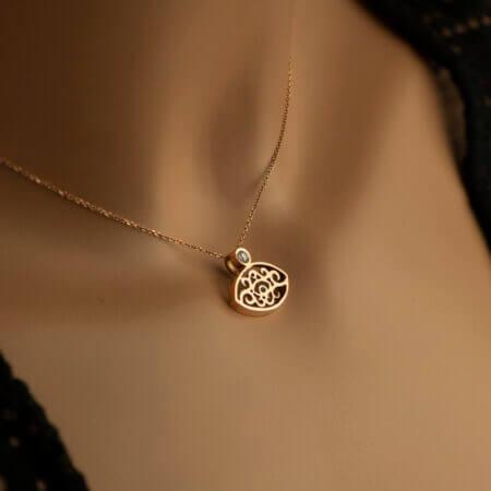Γυναικείο Κρεμαστό Λαιμού Χρυσό Ζιργκόν Κ14 Ροζ Μενταγιόν Κόσμημα Δώρο Μοτίφ