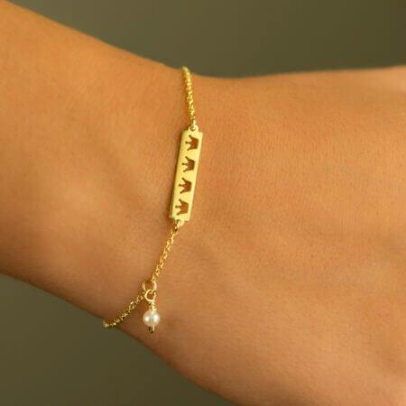 Γυναικείο Βραχιόλι Χρυσό Με Μαργαριτάρι Κορώνες Κ14 Κόσμημα Δώρο Κορίτσι