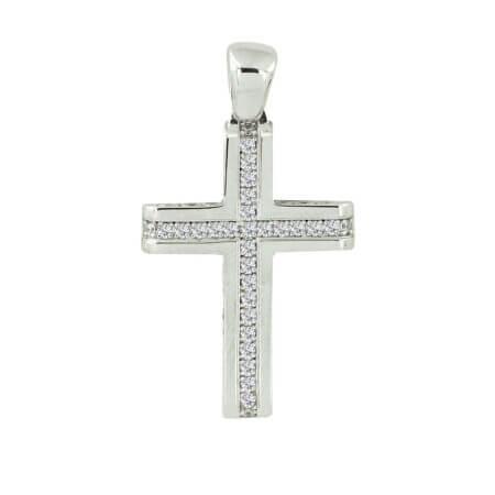 Γυναικείος Λευκόχρυσος Σταυρός Βάπτισης Ζιργκόν Πέτρες Κ14