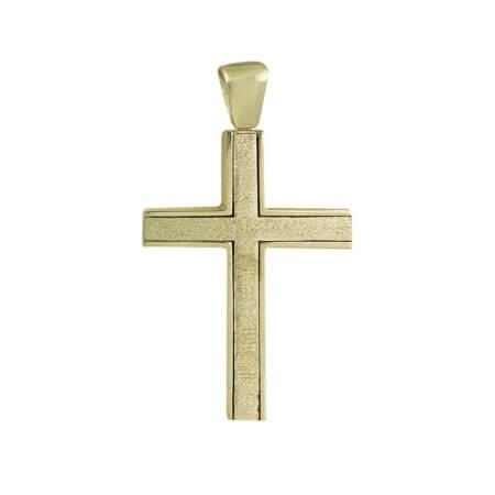 Γυναικείος Χρυσός Σταυρός Με Ζιργκόν Δύο Όψεων 14Κ Μοντέρνο Κόσμημα Αρραβώνας