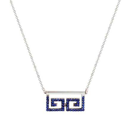 Λευκόχρυσο Κολιέ Μαίανδρος Μπλε Ζιργκόν Κ14