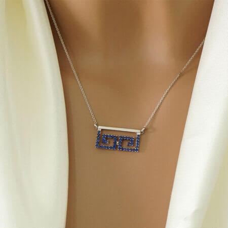 Λευκόχρυσο Κολιέ Μαίανδρος Μπλε Ζιργκόν Κ14 Γυναικείο Κρεμαστό