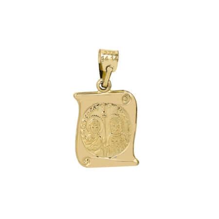 Μενταγιόν Κωνσταντινάτο Χρυσό Διπλής Όψης 9Κ ΙΧΝΚ