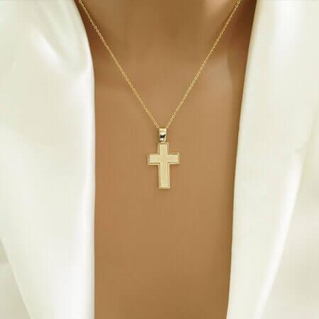 Μοντέρνος Γυναικείος Σταυρός Χρυσός Κ14 Κόσμημα Αρραβώνας Γάμος Δώρο