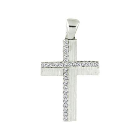 Μοντέρνος Σταυρός Βάπτισης Λευκό Χρυσό Ζιργκόν Κ14