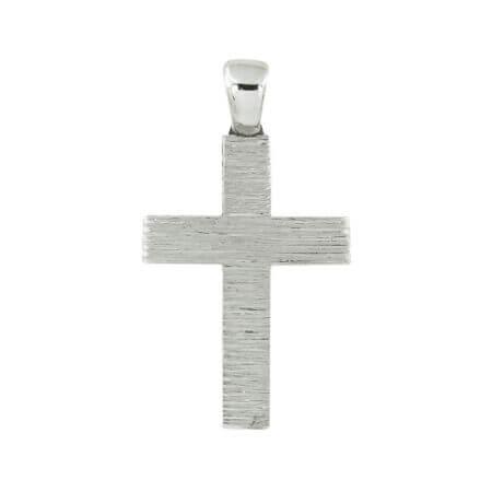 Μοντέρνος Σταυρός Βάπτισης Λευκό Χρυσό Ζιργκόν Κ14 Γυναίκα Κορίτσι Γάμος Δώρο
