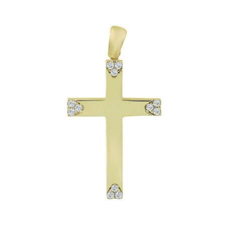 Σταυρός Γυναικείος Σε Χρυσό 14 Καρατίων Με Ζιργκόν
