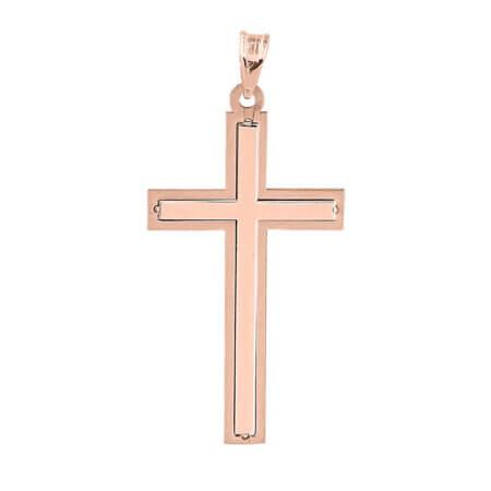 Βαπτιστικός Σταυρός Για Κορίτσι Ροζ Χρυσό Κ9