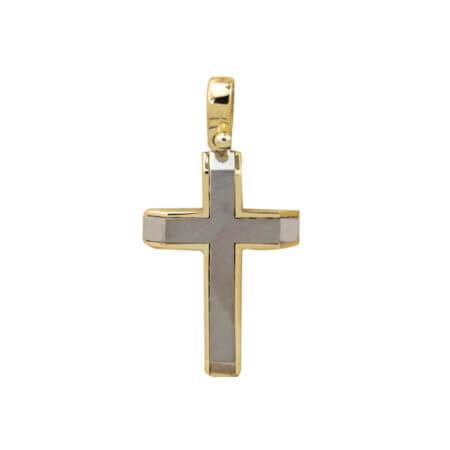 Βαπτιστικός Σταυρός Δίχρωμος Σε χρυσό 14 Καρατίων