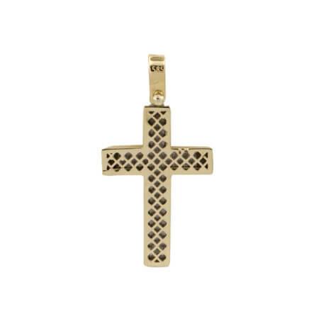 Βαπτιστικός Σταυρός Δίχρωμος Σε χρυσό 14 Καρατίων Λουστρέ