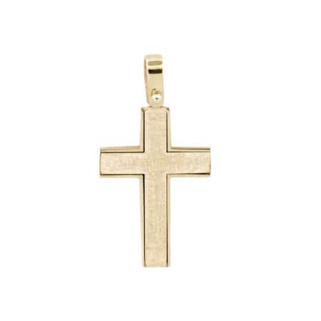 Βαπτιστικός Σταυρός Δίχρωμος Σε Χρυσό