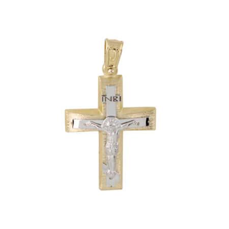 Χρυσός Σταυρός Βαπτιστικός Εσταυρωμένο Κ14