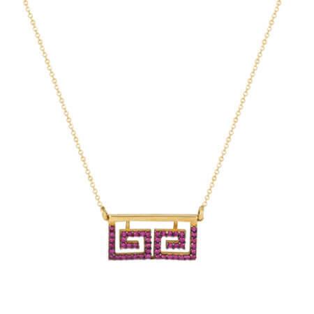 Χρυσό Κρεμαστό Μαίανδρος Ροζ Ζιργκόν Κ14