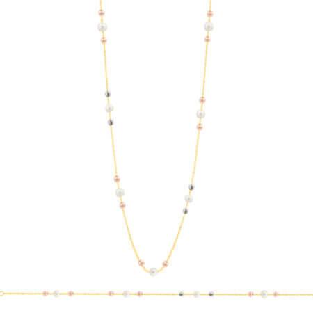 Χρυσό Σετ Κοσμημάτων Με Μαργαριτάρια Διαμανταρισμένες Μπίλιες Κ14