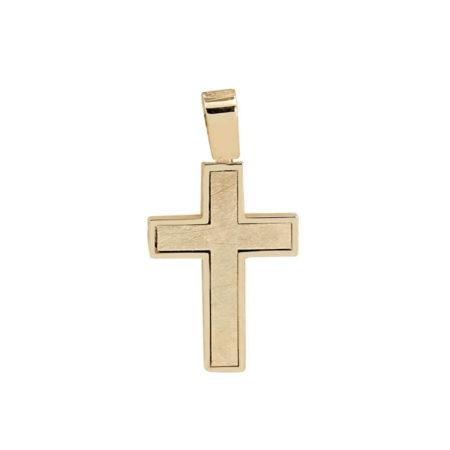 Χρυσός Σταυρός Γυναικείος Διπλής Όψης Κ14