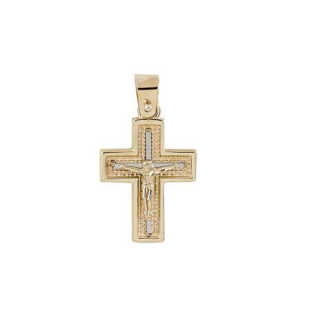 Χρυσός Σταυρός Γυναικείος Εσταυρωμένο Λευκόχρυση Λεπτομέρεια Κ14