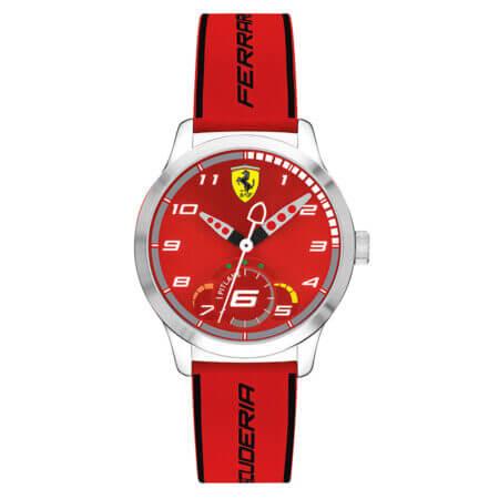 Ανδρικό Ρολόι Ferrari Με Κόκκινο Λουράκι Scuderia Pitlane (κωδ: 0860004)