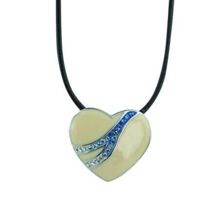 Ασημένιο Μενταγιόν Καρδιά 925 Με Ζιργκόν Πέτρες (κωδ: AM204)