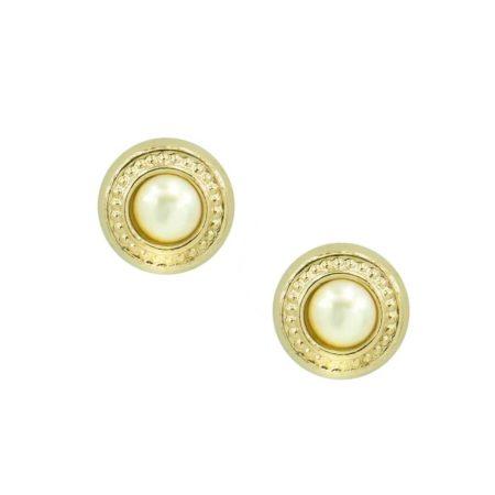 Χρυσά Καρφωτά Σκουλαρίκια Με Μαργαριτάρι 9 Καρατίων