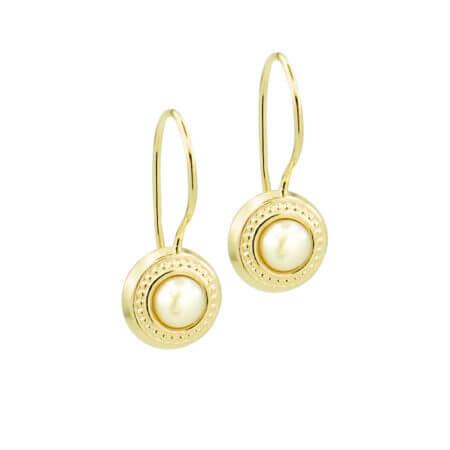 Χρυσά Σκουλαρίκια Κρεμαστά Με Μαργαριτάρι 9 Καρατίων