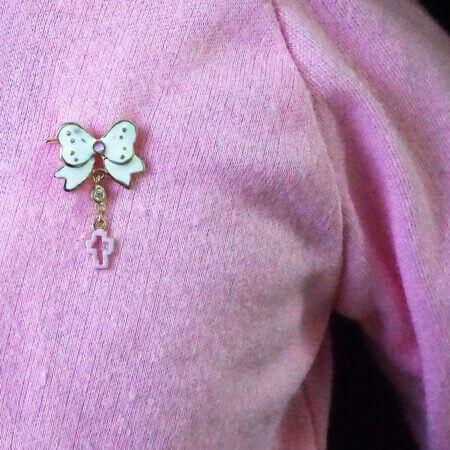 Χρυσή Παιδική Παραμάνα 9Κ Φιόγκος Ζιργκόν Πέτρα Σταυρουδάκι Δώρο Για Κορίτσι