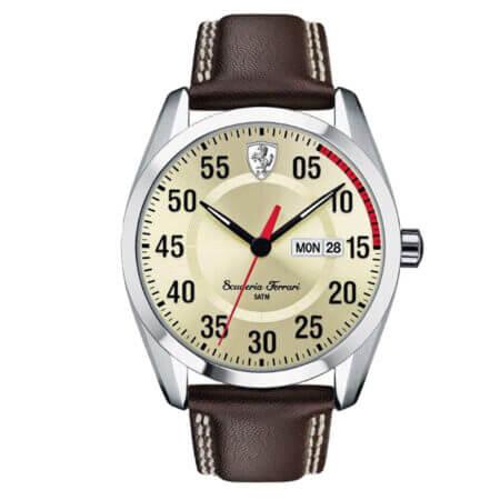 Ferrari Ανδρικό Ρολόι Με Καφέ Δερμάτινο Λουράκι (κωδ: 0830175)