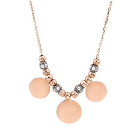 Μενταγιόν Με Κύκλους Και Ζιργκόν Από Ροζ Επιχρυσωμένο Ασήμι 925 (κωδ: AM225)