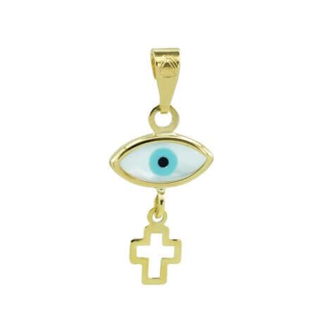 Μενταγιόν Μάτι Με Σταυρουδάκι Σε Χρυσό 9Κ