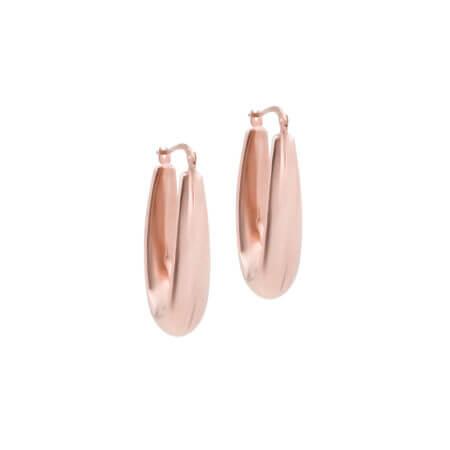 Μοντέρνοι Ροζ Χρυσοί Κρίκοι 14 Καρατίων Γυναικεία Σκουλαρίκια