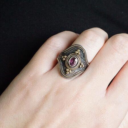 Χειροποίητο Ασημόχρυσο Δαχτυλίδι Με Ρουμπίνι 950-18Κ Γυναικείο