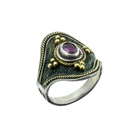 Χειροποίητο Δαχτυλίδι Με Ρουμπίνι Ασημόχρυσο 950-18Κ