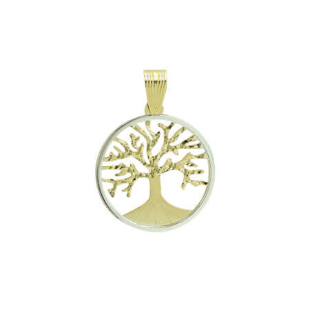 Χρυσό Μενταγιόν Δέντρο Της Ζωής 14Κ Κίτρινο Χρυσό Λευκόχρυσο