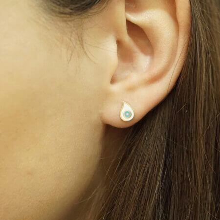 Γυναικεία Καρφωτά Σκουλαρίκια Ματάκι Λευκό Γαλάζιο Σμάλτο Χρυσό 9Κ