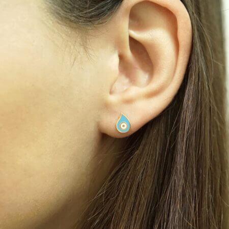 Γυναικεία Σκουλαρίκια Με Ματάκι Γαλάζιο Σμάλτο Χρυσά 9Κ Καρφωτά