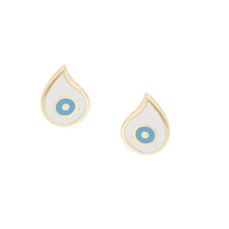 Καρφωτά Σκουλαρίκια Ματάκι Λευκό Γαλάζιο Σμάλτο Χρυσό 9Κ