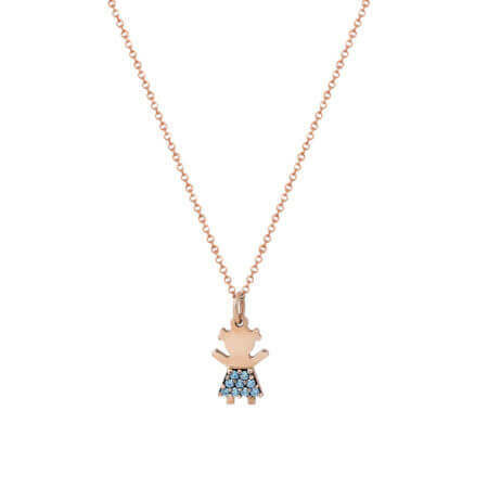 Ροζ Χρυσό Μενταγιόν Κοριτσάκι 9Κ Αλυσίδα Γαλάζιες Πέτρες Ζιργκόν