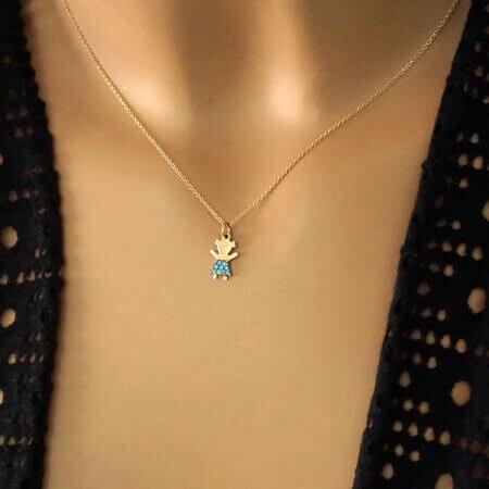 Ροζ Χρυσό Μενταγιόν Κοριτσάκι 9Κ Αλυσίδα Γαλάζιες Πέτρες Ζιργκόν Δώρο Για Μαμάδες