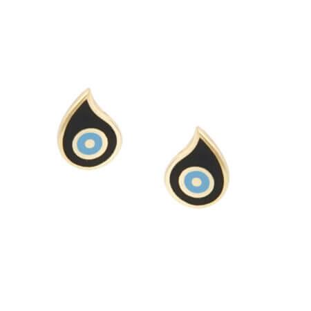 Σκουλαρίκια Με Σμάλτο Μαύρο Γαλάζιο Χρυσά 9Κ Καρφωτά Γυναικεία