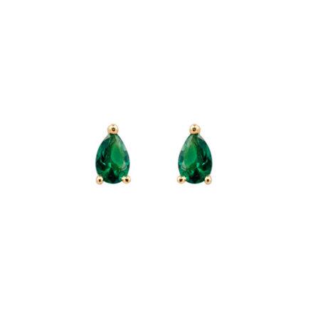 Ασημένια Σκουλαρίκια Κίτρινα Επίχρυσα Με Πράσινη Πέτρα 925