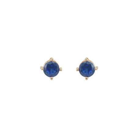 Ασημένια Σκουλαρίκια Με Ζιργκόν Γαλάζια Πέτρα 925 Κίτρινα Επίχρυσα (κωδ: AE099)
