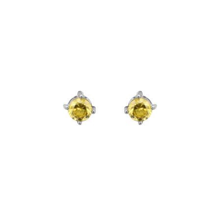 Ασημένια Σκουλαρίκια Με Ζιργκόν Κίτρινη Πέτρα 925 (κωδ: AE110)