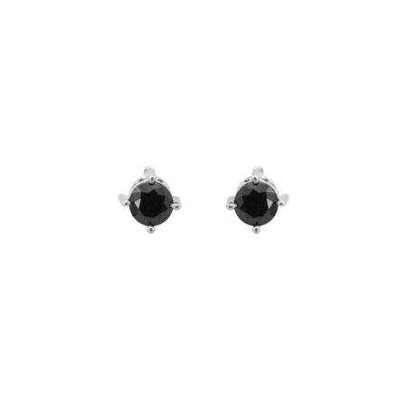 Ασημένια Σκουλαρίκια Με Ζιργκόν Μαύρη Πέτρα 925 (κωδ: AE106)
