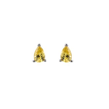 Ασημένια Σκουλαρίκια Με Ζιργκόν Πέτρα 925 Σε Σχήμα Δάκρυ (κωδ: AE118)
