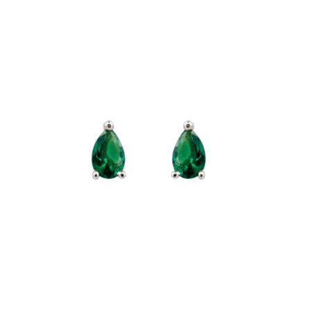 Ασημένια Σκουλαρίκια Με Ζιργκόν Πέτρα Πράσινη 925 Σε Σχήμα Δάκρυ (κωδ: AE116)