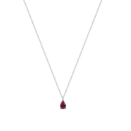 Ασημένιο Γυναικείο Μενταγιόν Δάκρυ 925 Με Αλυσίδα (κωδ: AM578)