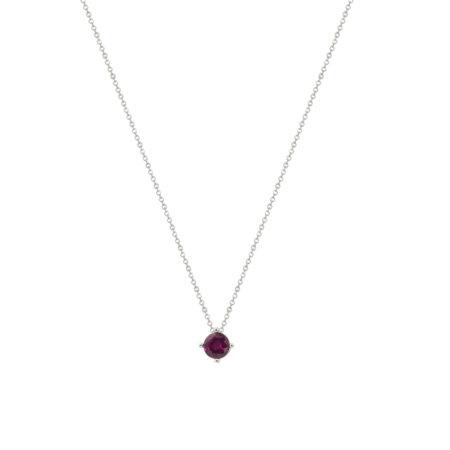 Ασημένιο Γυναικείο Μενταγιόν Μονόπετρο 925 Με Αλυσίδα (κωδ: AM590)
