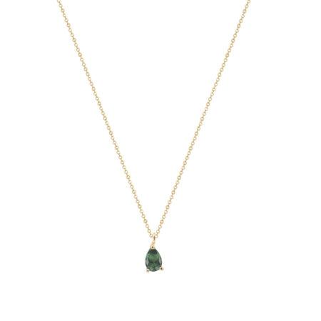 Ασημένιο Μενταγιόν 925 Δάκρυ Κίτρινο Επίχρυσο Με Πράσινη Πέτρα (κωδ: AM581)