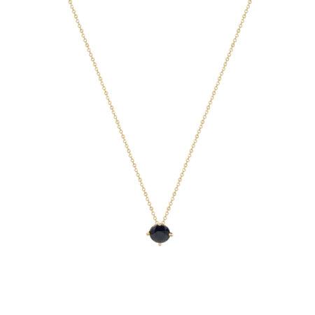 Ασημένιο Μενταγιόν Με Μαύρη Πέτρα 925 Κίτρινο Επίχρυσο (κωδ: AM591)